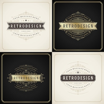 Zestaw szablonów kart okolicznościowych w stylu vintage ornament rozkwita ozdobne ramki