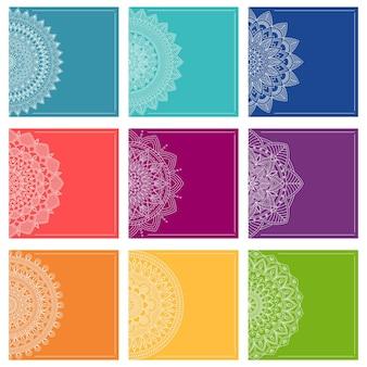 Zestaw szablonów kart okolicznościowych z mandalami, ilustracji wektorowych