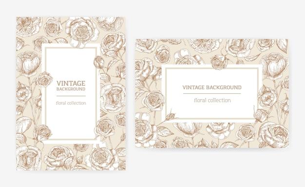 Zestaw szablonów kart pionowych i poziomych z ramkami wykonanymi z kwiatów róży austin