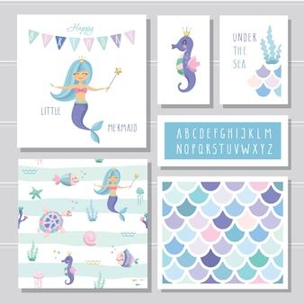 Zestaw szablonów kart urodzinowych syrenka
