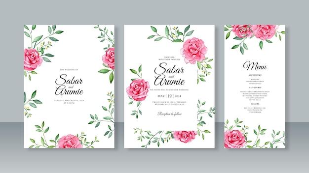 Zestaw szablonów kart z zaproszeniem na ślub z kwiatami akwarelowymi