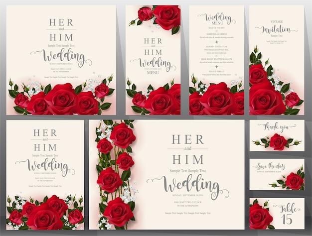 Zestaw szablonów kart zaproszenie na ślub.