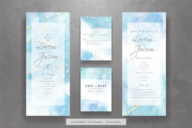 Zestaw szablonów kartek z abstrakcyjnymi zaproszeniami na ślub z tłem atramentu alkoholowego
