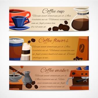 Zestaw szablonów kawy banery