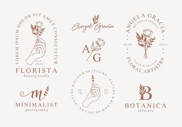 Zestaw szablonów kobiecych logo ręcznie rysowane