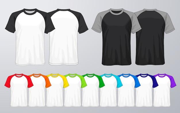Zestaw szablonów kolorowych t-shirtów.