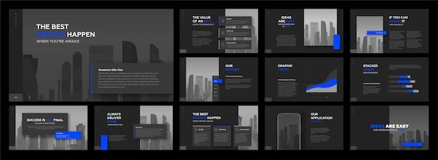 Zestaw szablonów korporacyjnych nowoczesnych prezentacji.