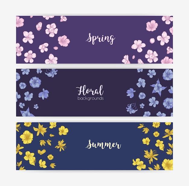 Zestaw szablonów kwiatowy baner z wiosną i latem kwitnące dzikie kwiaty i rośliny kwitnące. zestaw ozdobnych naturalnych teł. sezonowy botaniczny wektor ilustracja w stylu vintage.