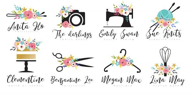 Zestaw szablonów kwiatowy logo małej firmy