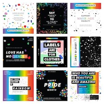 Zestaw szablonów lgbtq pride month ze stopionymi kredkami woskowymi)
