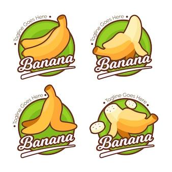 Zestaw Szablonów Logo Bananów Darmowych Wektorów