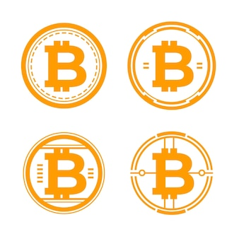Zestaw szablonów logo bitcoin o płaskiej konstrukcji