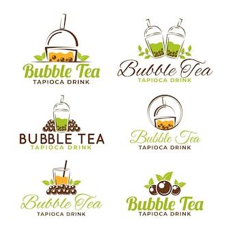 Zestaw szablonów logo bubble tea
