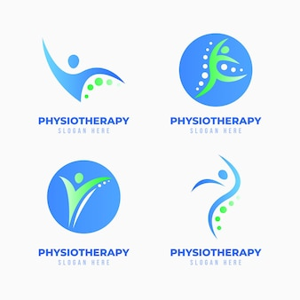 Zestaw szablonów logo fizjoterapii gradientowej