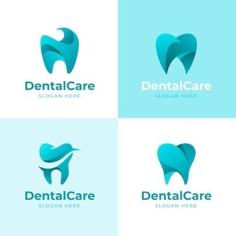 Zestaw szablonów logo gradientu dentystycznego