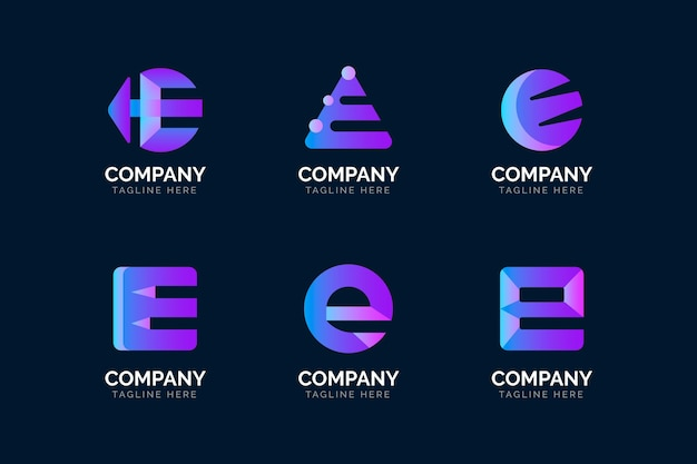 Zestaw szablonów logo gradientu e