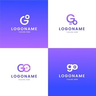 Zestaw szablonów logo gradientu go