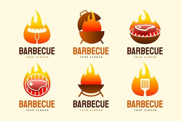 Zestaw szablonów logo grilla gradientowego