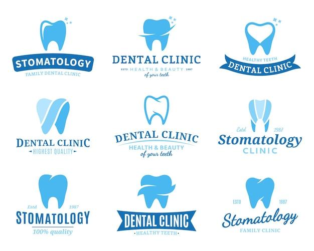 Zestaw szablonów logo kliniki dentystycznej.