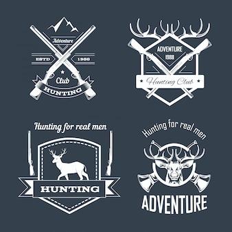 Zestaw szablonów logo klubu myśliwskiego lub polowania na przygodę
