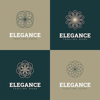 Zestaw szablonów logo kwiat w stylu vintage.