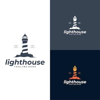 Zestaw szablonów logo latarni morskiej
