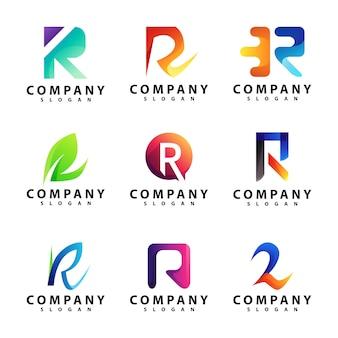 Zestaw szablonów logo litera r.