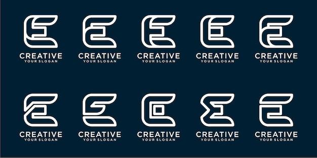 Zestaw szablonów logo litery e z prostymi liniami premium wektor