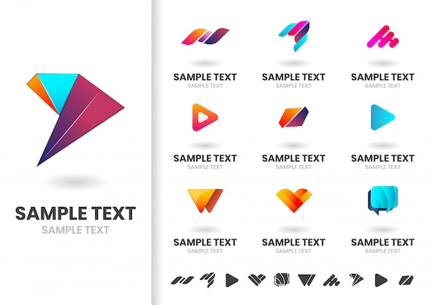 Zestaw szablonów logo lub logotyp nowoczesny kształt