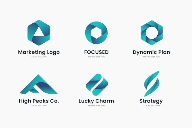 Zestaw szablonów logo marketingowego z niebieskim gradientem