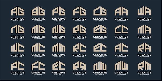 Zestaw szablonów logo monogram listu nieruchomości