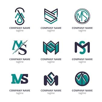 Zestaw szablonów logo ms o płaskiej konstrukcji
