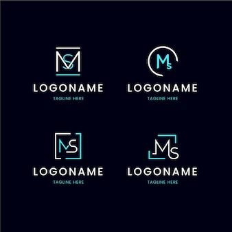 Zestaw szablonów logo ms płaska konstrukcja