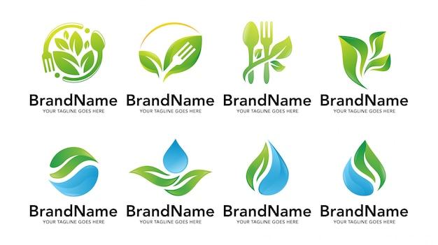 Zestaw szablonów logo natura liść