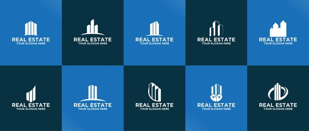 Zestaw szablonów logo nieruchomości wektor premium