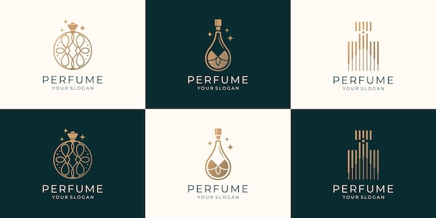 Zestaw szablonów logo perfum luksusowych butelek. logo dla kosmetyków, urody, salonu, produktu, pielęgnacji skóry.