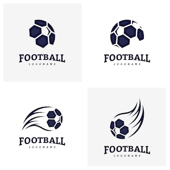 Zestaw szablonów logo piłki nożnej piłka nożna odznaka logo. Identyfikacja zespołu sportowego