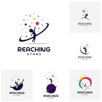 Zestaw szablonów Logo Reaching Stars. Logo gwiazdy snów.