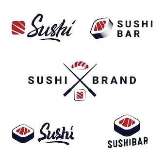 Zestaw szablonów logo sushi shop. wektorowi przedmioty i ikony dla japońskiej karmowej kawiarni z łososiem.
