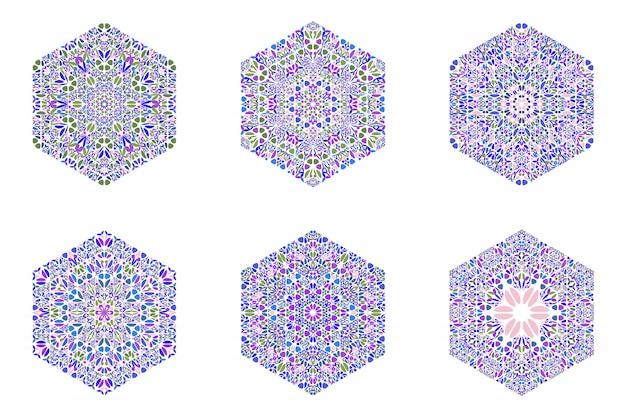 Zestaw szablonów logo sześciokąt na białym tle kwiatowy mozaiki