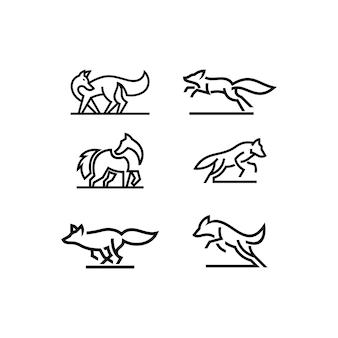 Zestaw szablonów logo sztuki linii dzikich zwierząt
