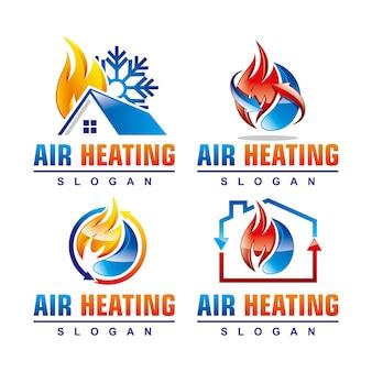 Zestaw szablonów logo usługi ogrzewania powietrznego