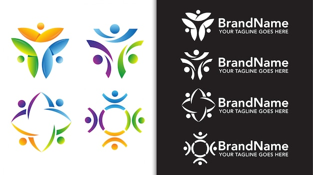 Zestaw szablonów logo zespołu jedność ludzi