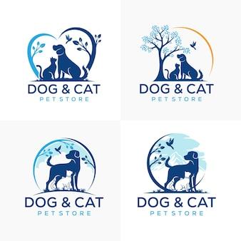 Zestaw szablonów logo zwierząt domowych kotów psów