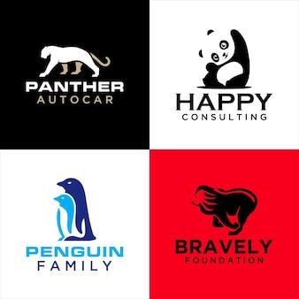 Zestaw szablonów logo zwierząt