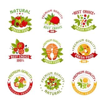 Zestaw szablonów logo żywności najwyższej jakości, ilustracje produktów naturalnych na białym tle