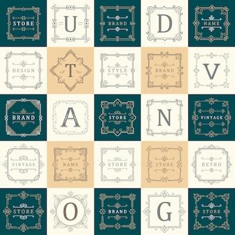 Zestaw szablonów luxury logos rozkwita kaligraficzne linie elegancki ornament. znak firmy, symbol, tożsamość.