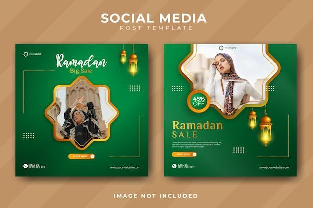 Zestaw szablonów mediów społecznościowych sprzedaży ramadan elegancki luksus