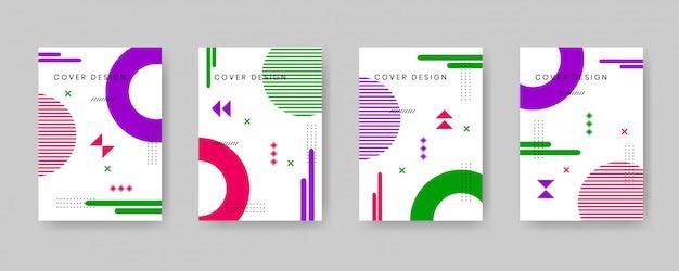 Zestaw szablonów minimalistyczny projekt okładki w stylu memphis