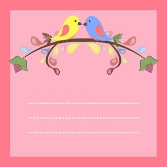 Zestaw szablonów na zaproszenia ślubne, walentynki karty z miłości para ptaków